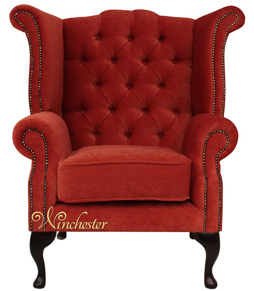 Chesterfield Fabric Queen Anne High Back Wing Chair Copper