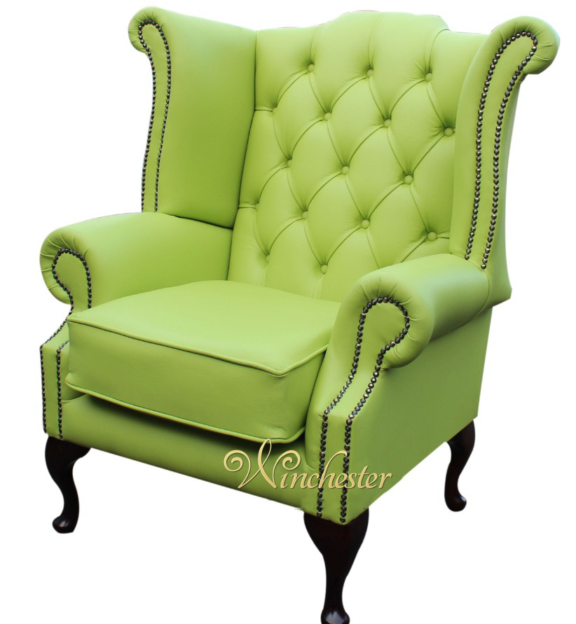 Chesterfield Queen Anne Fireside Wing Chair Melon Leather