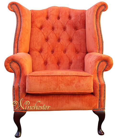 Chesterfield Fabric Queen Anne High Back Wing Chair Azzurro Tangerine Orange Velvet