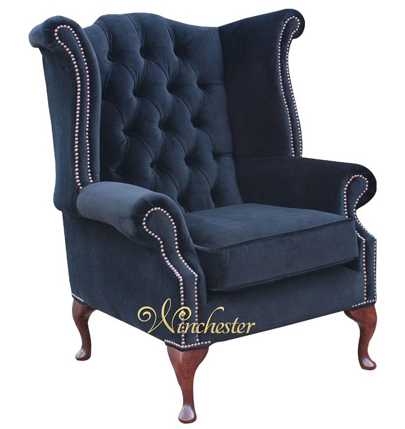 Chesterfield Fabric Queen Anne High Back Wing Chair Black Velvet ...