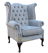 Chesterfield Fabric Queen Anne High Back Wing Chair Ritz Mink Fabric