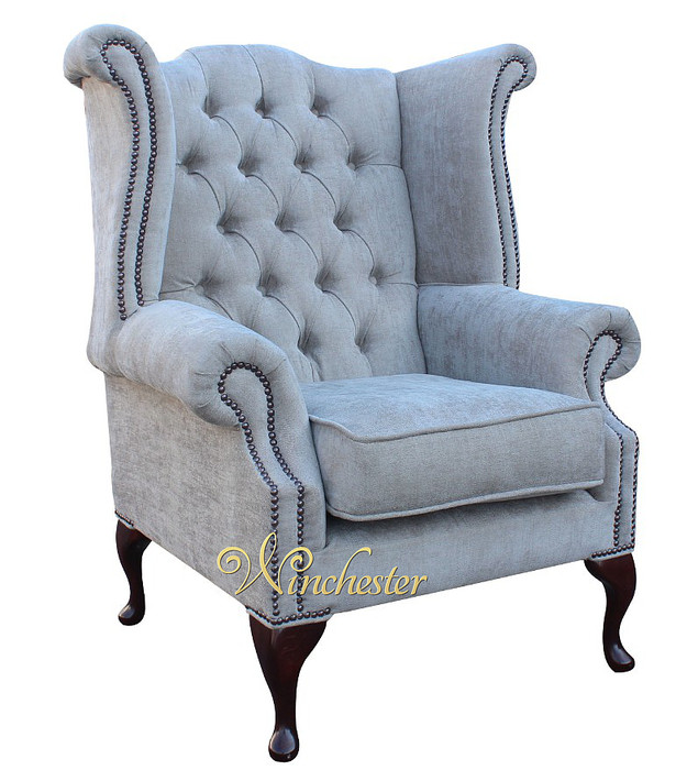 chesterfield fabric queen anne high back wing chair ritz mink fabric traditional sofas. Black Bedroom Furniture Sets. Home Design Ideas
