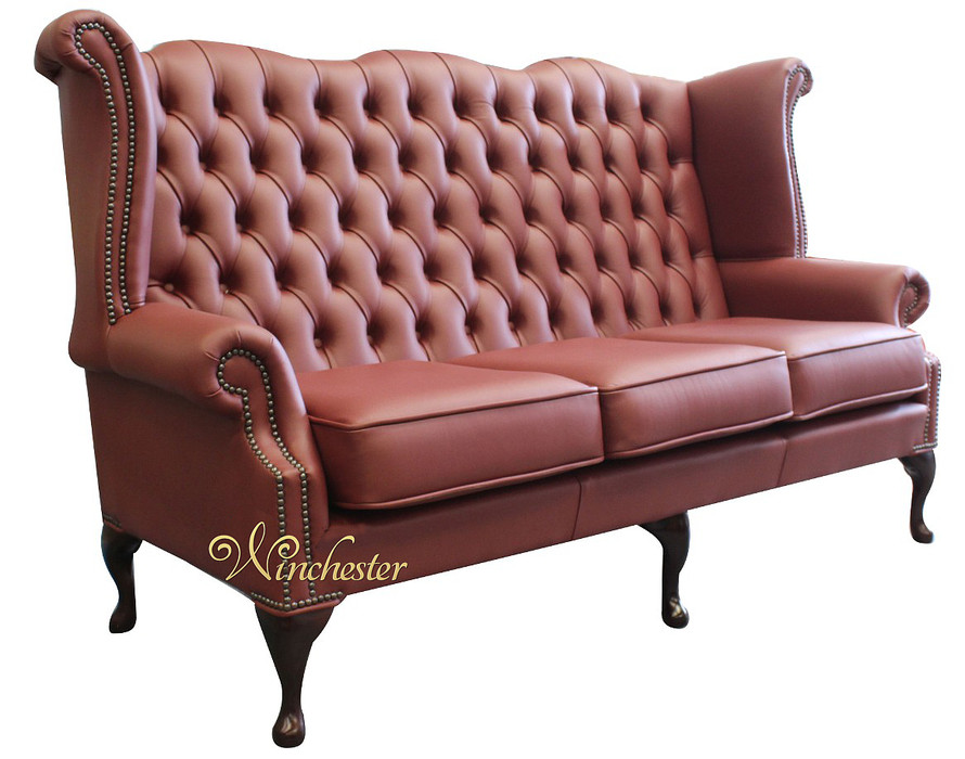 Chesterfield 3 Seater Queen Anne High Back Wing Sofa Burgandy Leather Uk Manufactured Leather