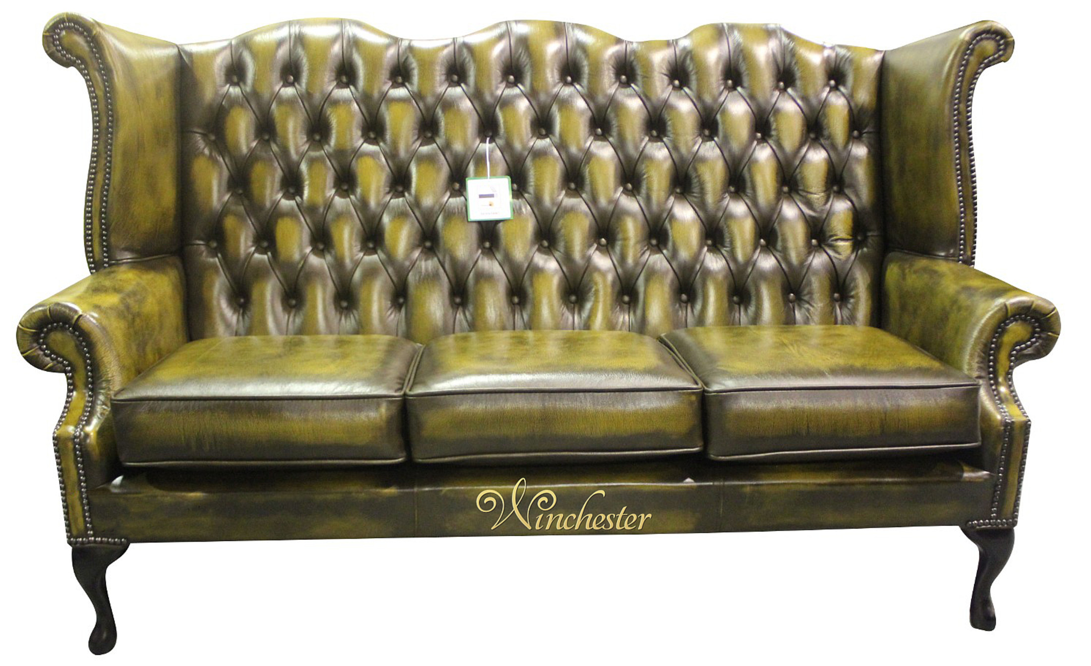 Chesterfield Queen Anne High Back Sofa Antique Gold Leather Wc