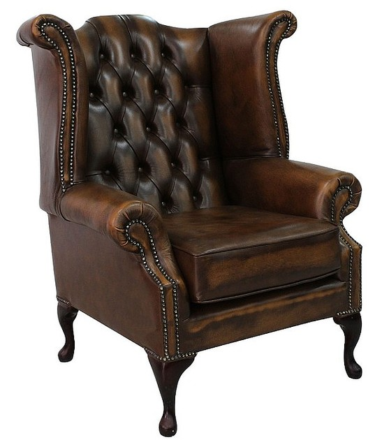 Antique Tan Chesterfield Queen Anne Wing Chair