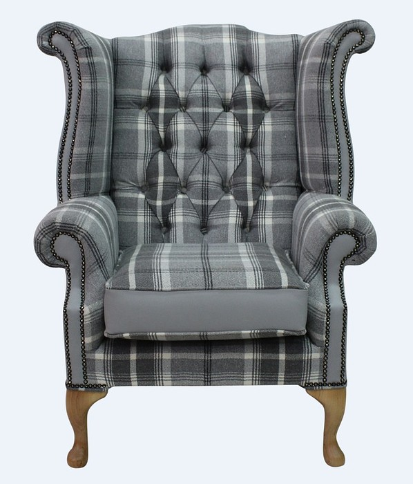 Chesterfield Queen Anne High Back Wing Chair Balm Dove Silver Grey Leather