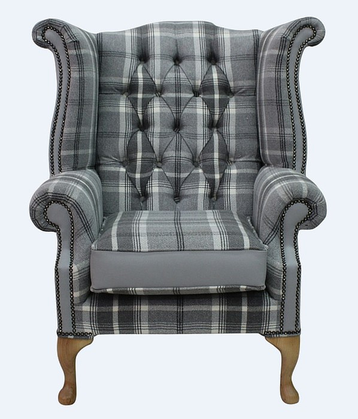 Ordinaire Chesterfield Queen Anne High Back Wing Chair Balmoral Dove Silver Grey  Leather