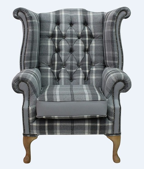 Chesterfield Queen Anne High Back Wing Chair Balmoral Dove Silver Grey Leather