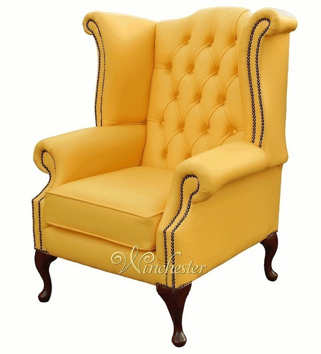 Chesterfield Queen Anne High Back Wing Chair Banana