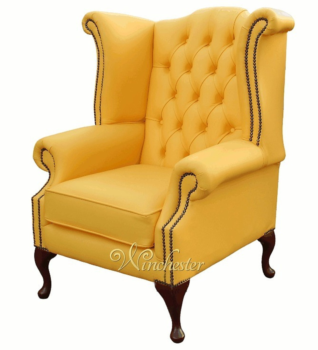 ... Chesterfield Queen Anne High Back Wing Chair Banana  ...