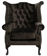 Chesterfield Queen Anne High Back Wing Chair Boutique Chocolate Brown Velvet