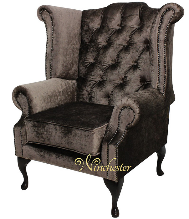 chesterfield queen anne high back wing chair boutique sable velvet leather sofas traditional sofas. Black Bedroom Furniture Sets. Home Design Ideas