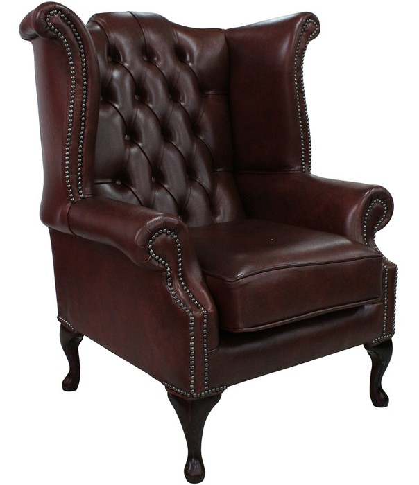 Conker Brown Chesterfield High Back Wing Chair