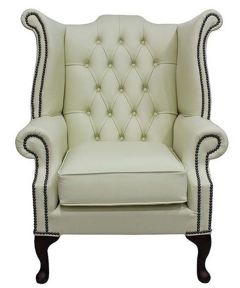 Chesterfield Queen Anne High Back Wing Chair Cottonseed Leather