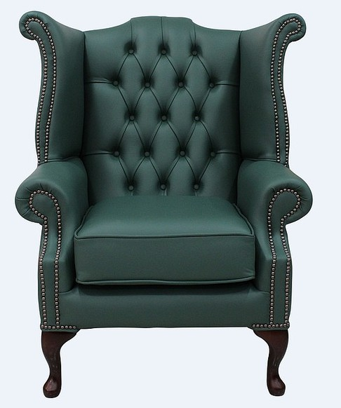 Chesterfield Queen Anne High Back Wing Chair Jade Green Leather