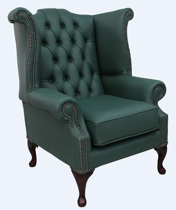 Green Chesterfield Queen Anne Wing Chair Designersofas4u
