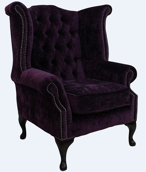 Chesterfield Queen Anne High Back Wing Chair Modena Aubergine Velvet