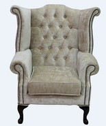 Chesterfield Queen Anne High Back Wing Chair Modena Camel Velvet