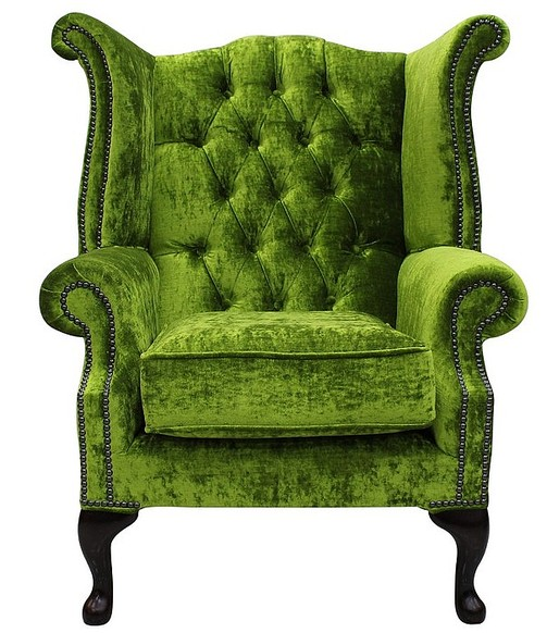 Chesterfield Queen Anne High Back Wing Chair Modena Pistachio Green Velvet