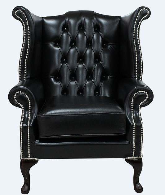 Black Chesterfield Queen Anne High Back Chair