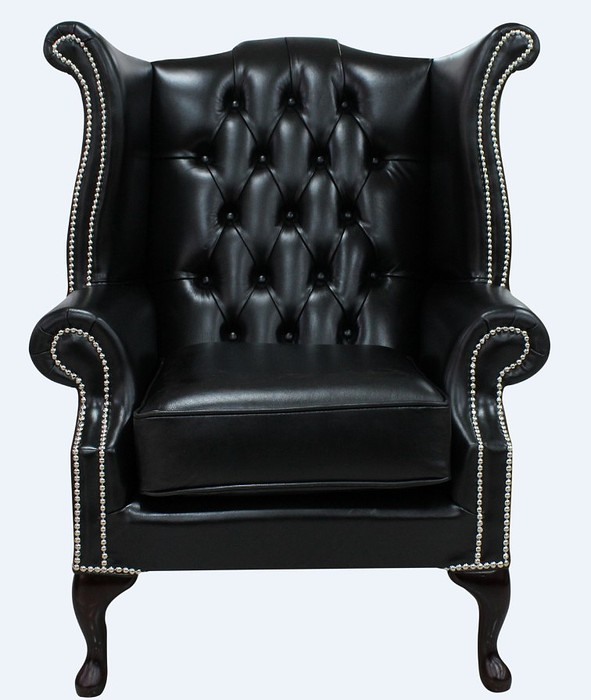 Black chesterfield queen anne high back chair for Armchair with high back