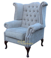 Chesterfield Fabric Queen Anne High Back Wing Chair Perla Illusions Grey Velvet