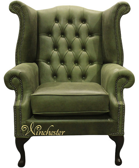 Chesterfield Queen Anne High Back Wing Chair Selvaggio Sage Green Leather