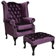 Chesterfield Queen Anne High Back Wing Chair Shimmer Grape Velvet + Footstool