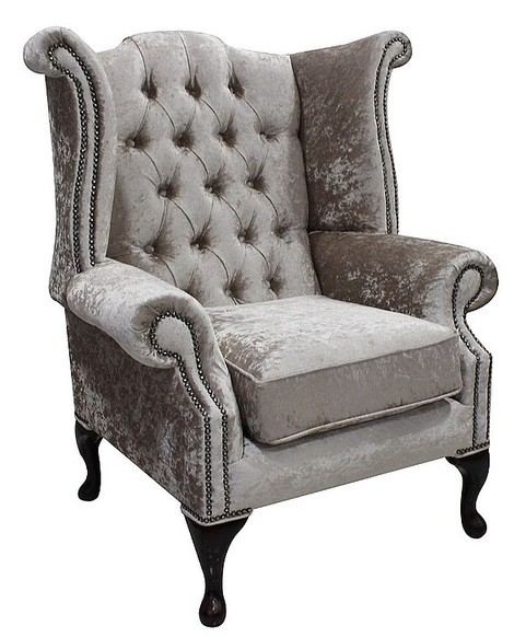 Chesterfield Queen Anne High Back Wing Chair Shimmer Mink Velvet