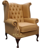 Chesterfield Queen Anne High Back Wing Chair UK Manufactured Sunbeam Leather
