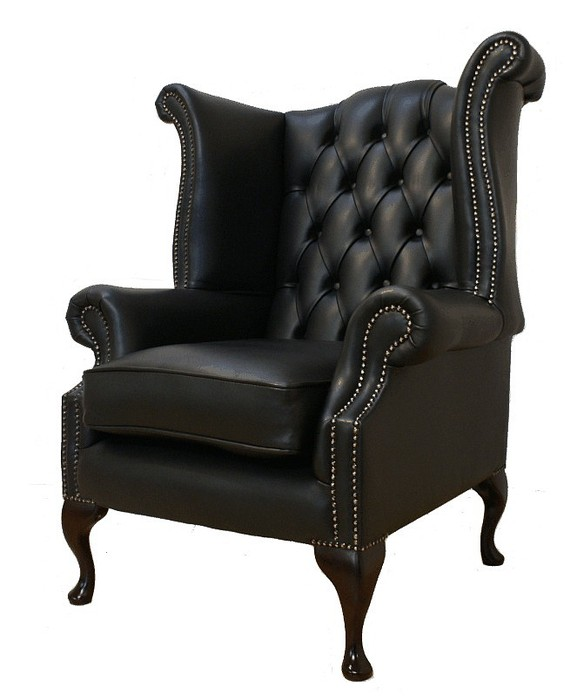 Chesterfield queen anne high back wing chair uk for Armchair with high back