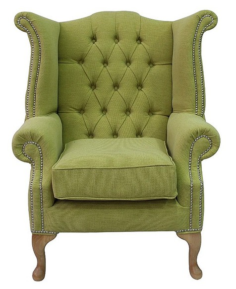 Chesterfield Queen Anne High Back Wing Chair Verity Lime Green Fabric