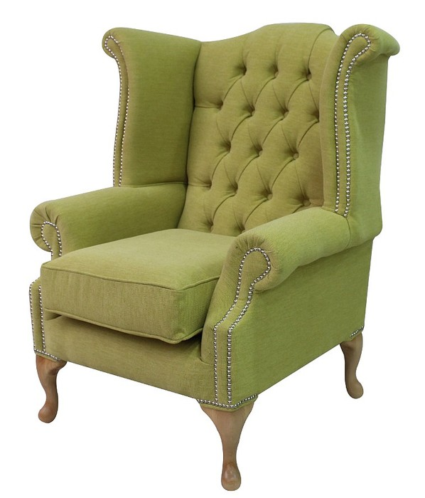 Chesterfield Queen Anne High Back Wing Chair Verity Lime