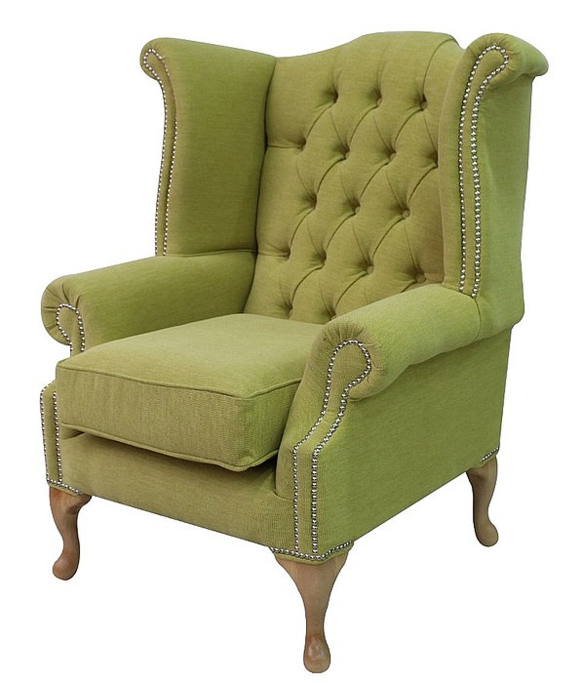 queen anne high back wing chair verity lime green fabric