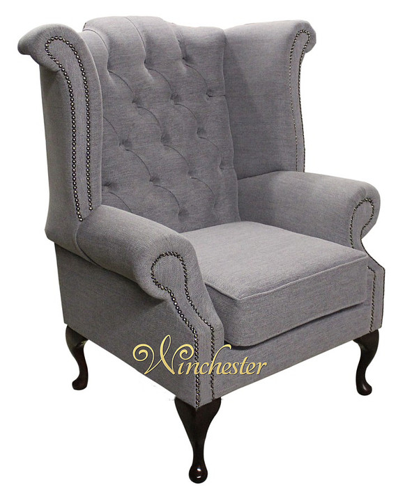chesterfield fabric queen anne high back wing chair verity plain steel fabric traditional sofas. Black Bedroom Furniture Sets. Home Design Ideas