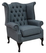 Chesterfield Queen Anne High Back Wing Chair Zoe Plain Granite Fabric
