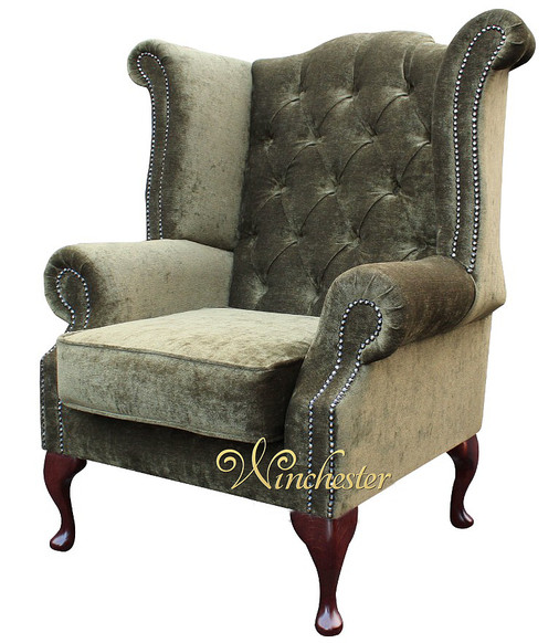 Chesterfield Fabric Queen Anne High Back Wing Chair Moss Green