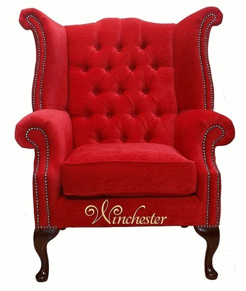 Chesterfield Fabric Queen Anne High Back Wing Chair Rouge Red