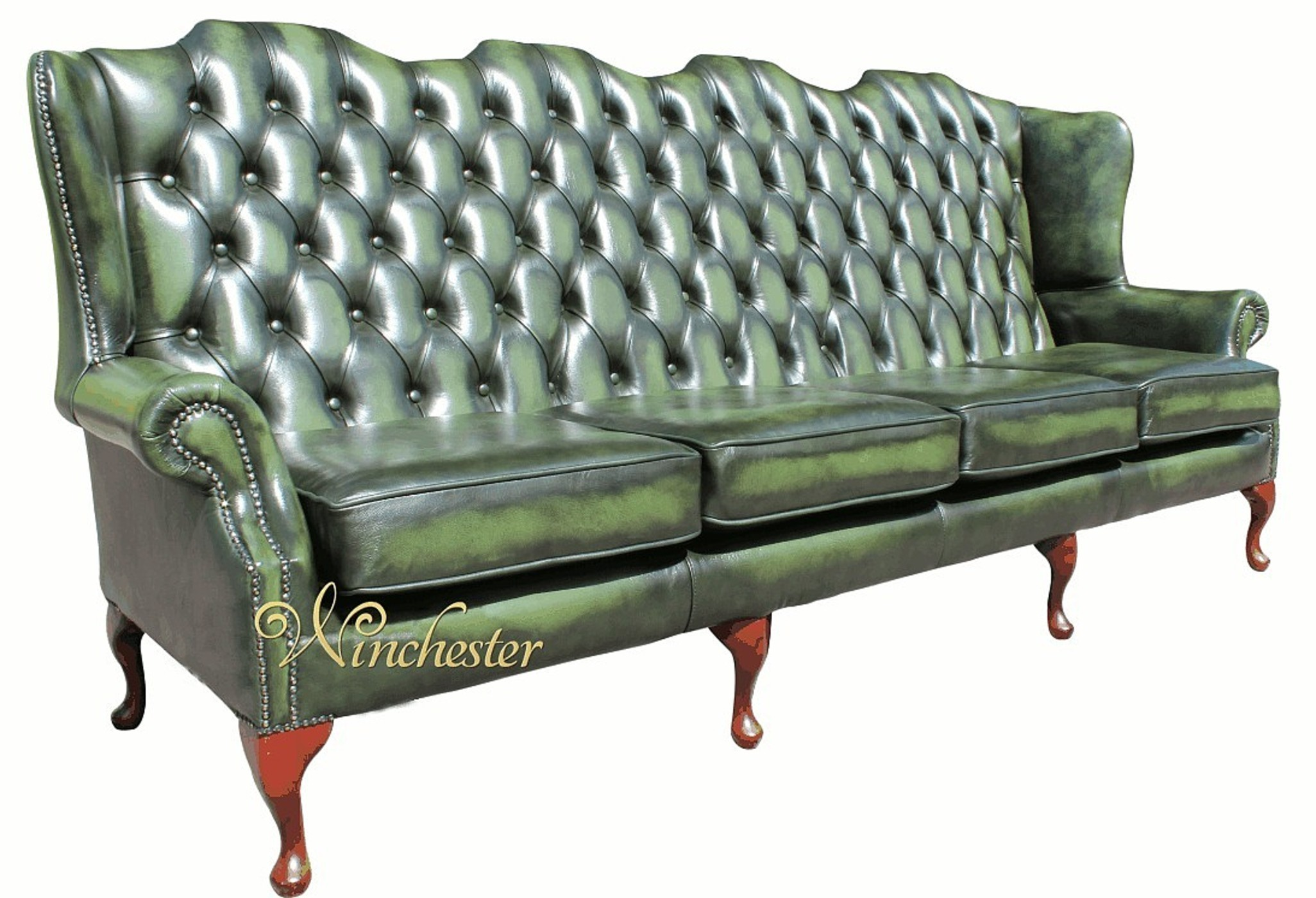 Chesterfield 4 Seater Queen Anne High Back Wing Sofa UK