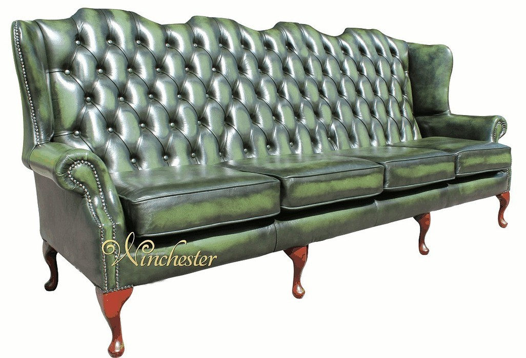chesterfield 4 seater queen anne high back wing sofa uk manufactured antique green leather. Black Bedroom Furniture Sets. Home Design Ideas