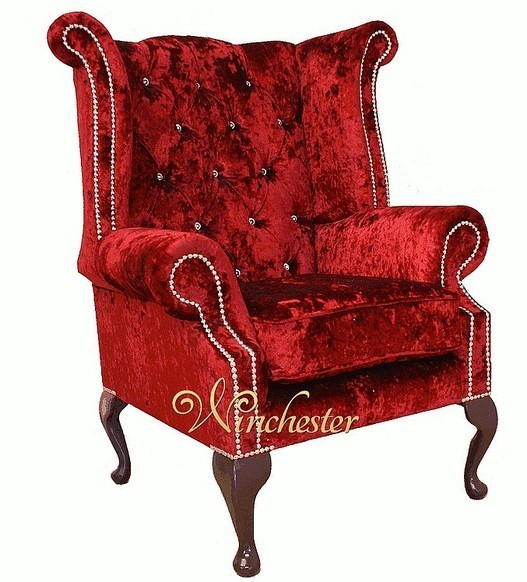 Chesterfield Swarovski Queen Anne High Back Wing Chair Boutique Wine Velvet