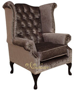 Chesterfield Queen Anne High Back Wing Chair Boutique Silver Velvet