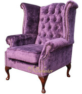 Chesterfield Queen Anne High Back Wing Chair Elegance Crushed Aubergine Velvet