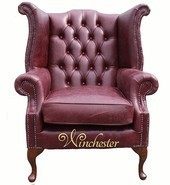 Chesterfield Queen Anne High Back Wing Chair UK Manufactured Old English Burgandy