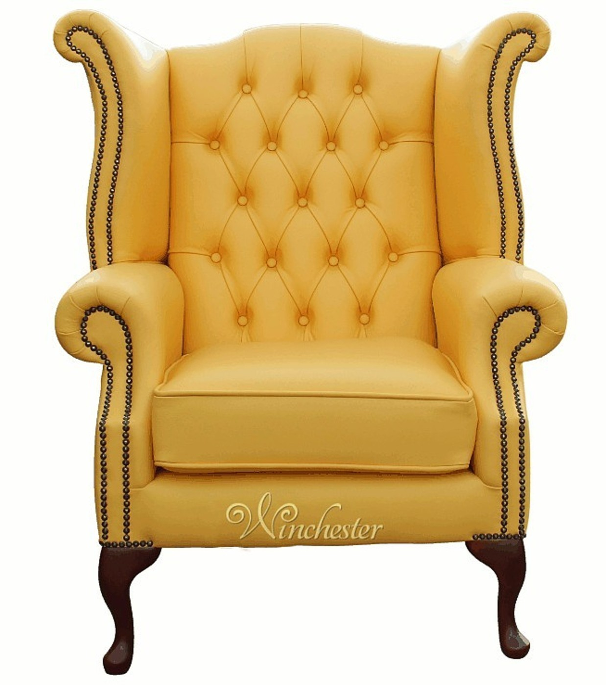 ... Chesterfield Queen Anne Wing Chair Banana Yellow Leather  ...