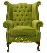 Chesterfield Fabric Queen Anne High Back Wing Chair Citrus Green