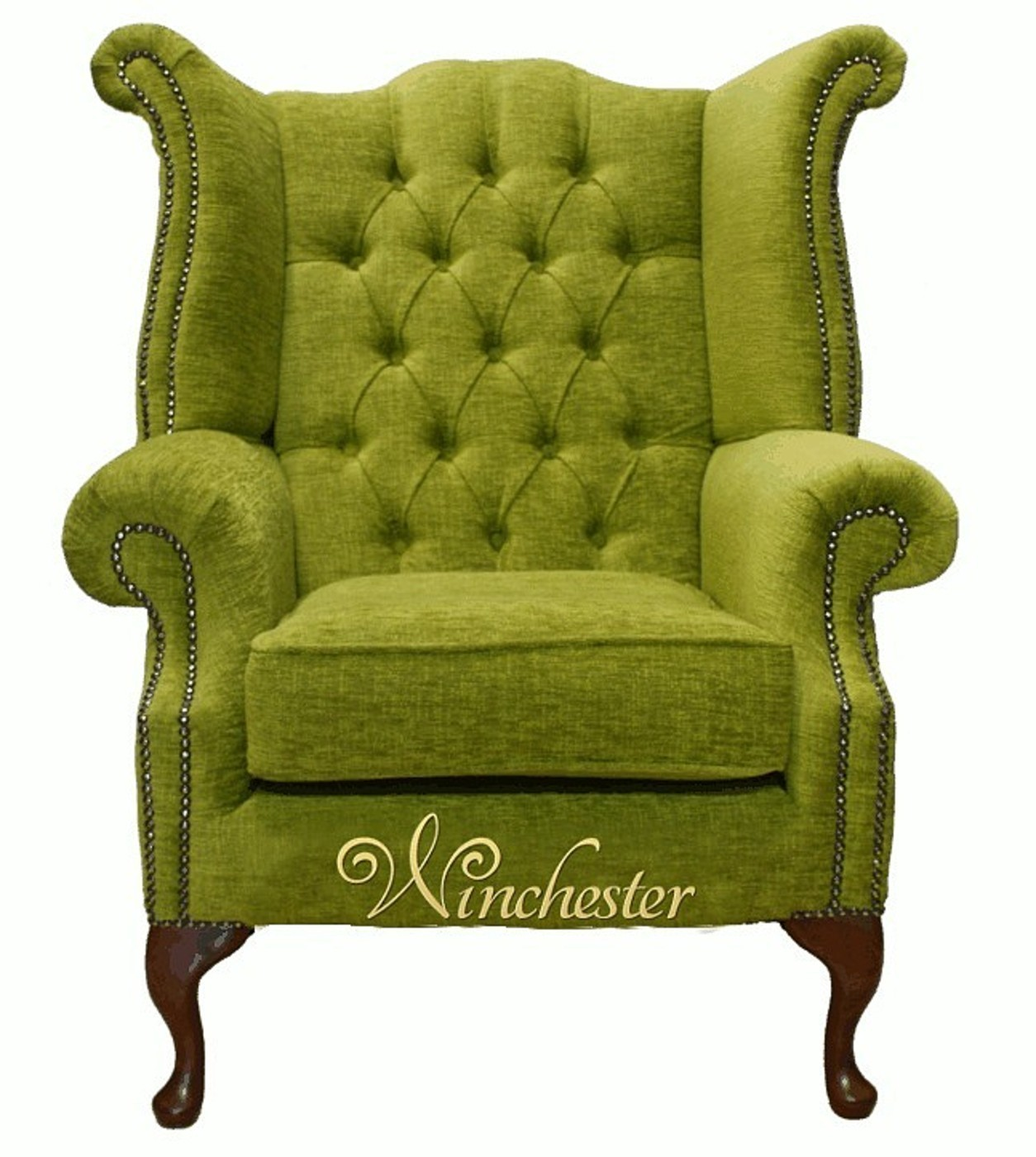 Chesterfield Queen Anne Wing Chair Citrus Green Wc