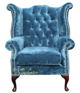 Chesterfield Queen Anne High Back Wing Chair Elegance Crushed Teal Velvet