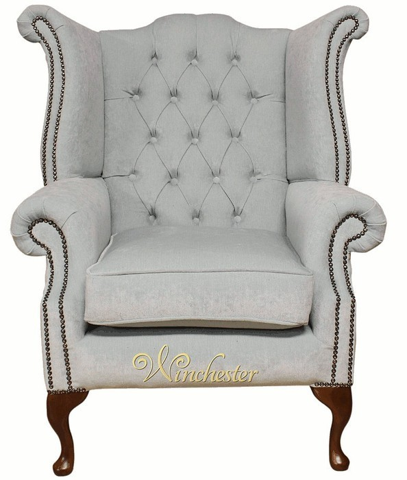 Chesterfield Fabric Queen Anne High Back Wing Chair Duck Egg Blue Leather Sofas Traditional Sofas