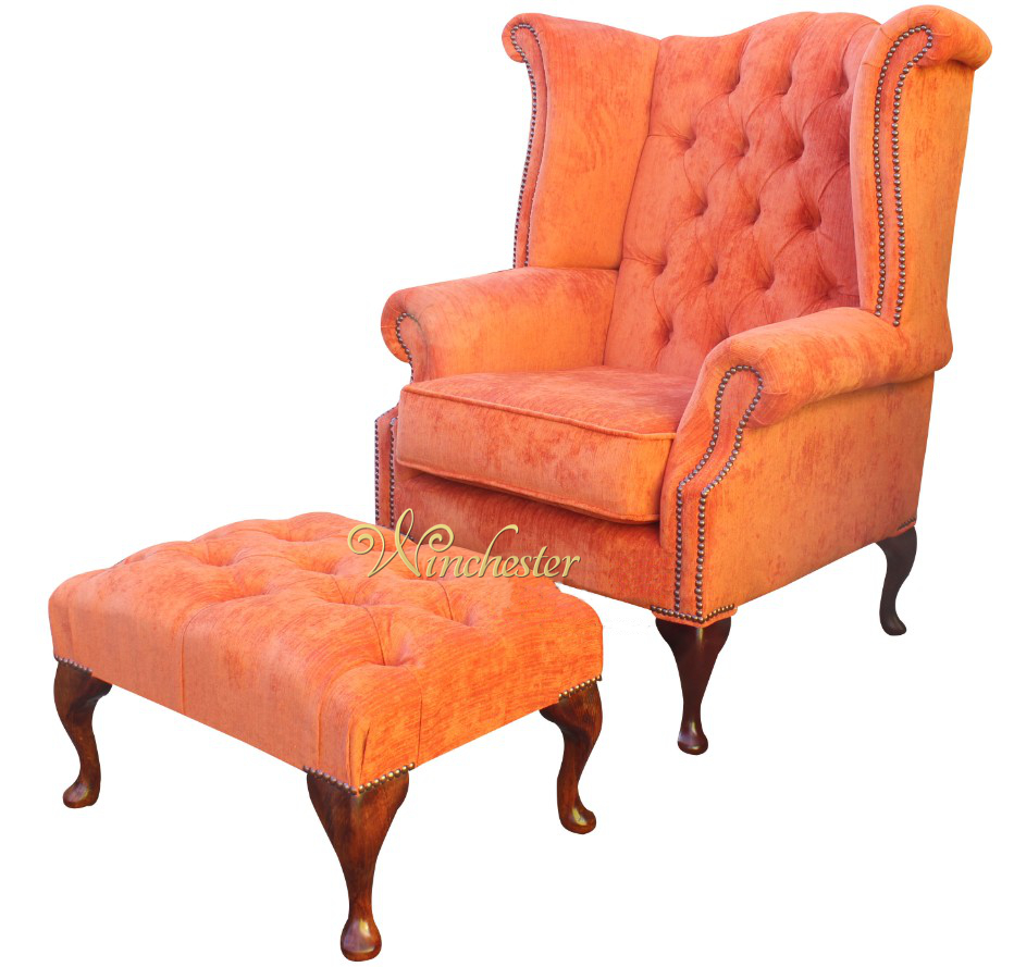 Chesterfield Fabric Queen Anne High Back Wing Chair  : chesterfield queen anne wing chair matching footstool tangerine velvet fabric wc from www.winchesterleather.com size 932 x 889 jpeg 356kB